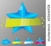 set of blue stars with ribbons. ...