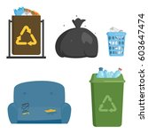 recycling garbage elements... | Shutterstock .eps vector #603647474