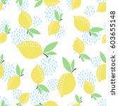 lemon pattern. seamless... | Shutterstock .eps vector #603655148