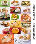 collage of south indian food... | Shutterstock . vector #603655880