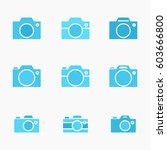 set of photo camera icon or... | Shutterstock .eps vector #603666800