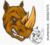 rhino athletic design complete... | Shutterstock .eps vector #603667670