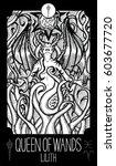 queen of wands. lilith. minor... | Shutterstock .eps vector #603677720
