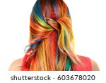 trendy hairstyle concept. young ... | Shutterstock . vector #603678020