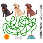 cute dog educational maze game. ... | Shutterstock .eps vector #603678983