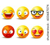 smiley face icons or yellow... | Shutterstock .eps vector #603687074
