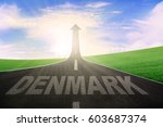 empty road leading to an arrow... | Shutterstock . vector #603687374