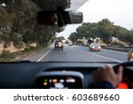 left hand traffic driving in... | Shutterstock . vector #603689660