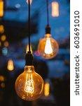 decorative vintage lamp bulbs... | Shutterstock . vector #603691010