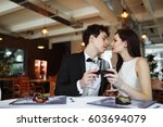 wedding day young couple in... | Shutterstock . vector #603694079