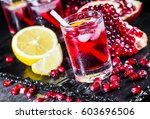 fresh red juice cocktail with... | Shutterstock . vector #603696506