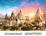 rocks looking like teeth... | Shutterstock . vector #603699200