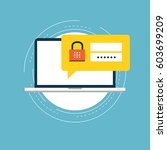 secure account login flat... | Shutterstock .eps vector #603699209