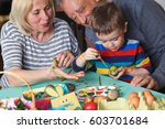 grandmother and grandfather... | Shutterstock . vector #603701684