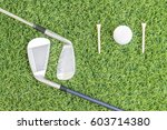sport objects related to golf... | Shutterstock . vector #603714380