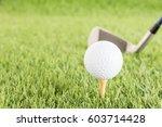 golf ball sitting on tee... | Shutterstock . vector #603714428