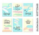 set of artistic creative spring ... | Shutterstock .eps vector #603720668