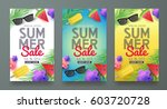 Summer sale background layout for banners,Wallpaper,flyers, invitation, posters, brochure, voucher discount.Vector illustration template. | Shutterstock vector #603720728