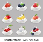 whipped cream with fruits and... | Shutterstock .eps vector #603721568