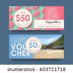 summer gift voucher discount... | Shutterstock .eps vector #603721718