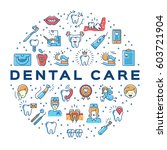dental care circle infographics ... | Shutterstock .eps vector #603721904