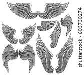 set of monochrome bird wings of ... | Shutterstock .eps vector #603730274