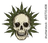 rastaman skull with cannabis... | Shutterstock .eps vector #603731408