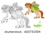 cute princess riding on horse... | Shutterstock .eps vector #603731504