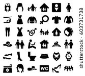 woman icons set. set of 36... | Shutterstock .eps vector #603731738