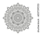 flower mandala. vintage... | Shutterstock .eps vector #603739553