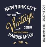 vintage denim typography  t... | Shutterstock .eps vector #603745004