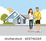 background image of dream house.... | Shutterstock .eps vector #603746264