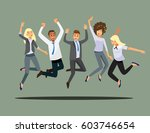 happy group of friend office... | Shutterstock .eps vector #603746654