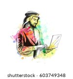 arab businessman in business... | Shutterstock .eps vector #603749348