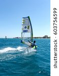 windsurfing in alacati  cesme ... | Shutterstock . vector #603756599