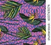 tropical flowers  jungle leaves ...   Shutterstock .eps vector #603765074