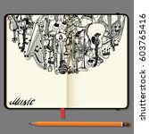 vector notebooks with pencil...   Shutterstock .eps vector #603765416
