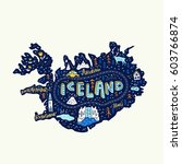 illustrated map of iceland.... | Shutterstock .eps vector #603766874