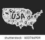 the map with the symbols of... | Shutterstock .eps vector #603766904