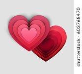 paper art cartoon red heart... | Shutterstock .eps vector #603768470