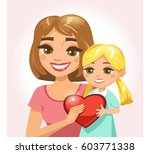 happy mother with her daughter... | Shutterstock .eps vector #603771338