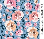 pattern with colorful rose... | Shutterstock .eps vector #603780794
