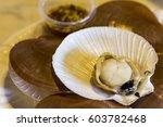 roasted shell scallops | Shutterstock . vector #603782468