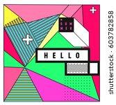 trendy vector summer cards... | Shutterstock .eps vector #603782858