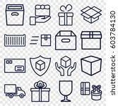 parcel icons set. set of 16...   Shutterstock .eps vector #603784130