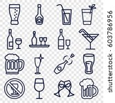 alcohol icons set. set of 16...