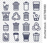 waste icons set. set of 16... | Shutterstock .eps vector #603788480