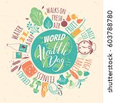 world health day concept with... | Shutterstock .eps vector #603788780
