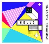 trendy vector summer cards... | Shutterstock .eps vector #603795788