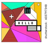 trendy vector summer cards... | Shutterstock .eps vector #603797348